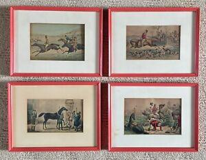 4 VINTAGE FRAMED HORSE HUNTING FOX & HOUND PRINTS - TANGERINE COLOURED FRAMES