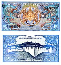 BHUTAN 1 Ngultrum Banknote World Paper Money UNC Currency Pick p12b 1990 Dragons