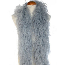 Silver Grey 4ply Ostrich Feather Boa Scarf Prom Halloween Costumes Dance Decor