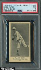 1916 M101-5 Sporting News #151 Babe Ruth Red Sox RC Rookie HOF Blank Back PSA 7
