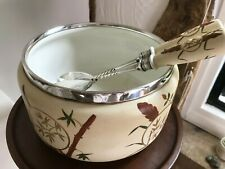 Vintage ceramic & silver plated salad bowl with servers
