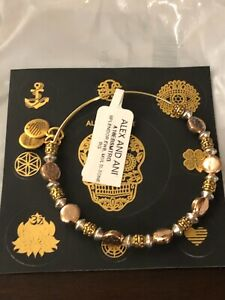 """ALEX AND ANI """"SPLENDOR"""" Beaded Bangle ~ Mixed Metals ~ Two-Tone NEW W/TAG & CARD"""