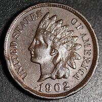 1902 INDIAN HEAD CENT - With LIBERTY & Near 4 DIAMONDS - AU UNC