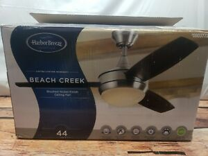 "Harbor Breeze Beach Creek 44"" Brushed Nickel Ceiling Fan LED Remote Reversible"