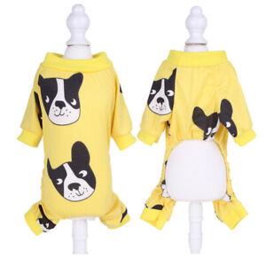 Cute Cartoon Printed Dog Pajamas Puppy Jumpsuit Dog Shirt Cat Coat Costume Suits