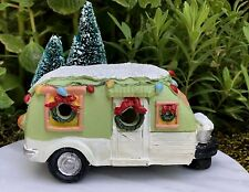 Miniature Dollhouse FAIRY GARDEN ~ Mini Green Camper w LED Light & Glitter Snow