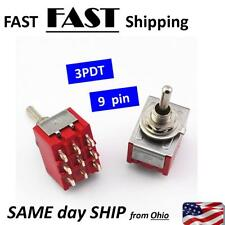 3PDT Mini Toggle Switch ON-ON 9 Pin Red Latching MTS-302
