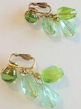 boucle d'oreille clips vintage couleur or perle cristal verte pampille 273