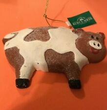 Brown & White Pig Holiday Ornament By Ksa
