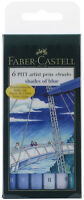 Faber Castell Pitt Artist Pens Shades of Blue Colors Set 6 Markers Brush Tip