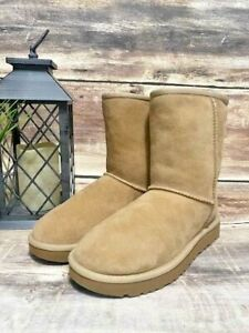 New Women's Authentic Ugg Classic Short II Boot 1016223 Sand Twinface 6 M