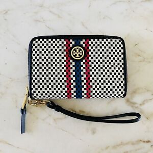 TORY BURCH Color Block Woven Leather Trim Leather Zip Around Wristlet Wallet