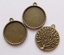 2pz base per Cammeo albero della vita 32x28mm,fit 25mm  bijoux colore bronzo