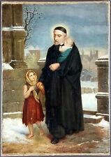 """Ancien Tableau """"Saint Vincent de Paul"""" Peinture Huile Antique Oil Painting"""