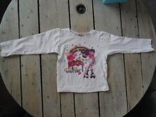 T-shirt manches longues blanc imprimé fillette en roller SHINY Taille 4 ans