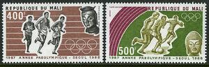 Mali C534-C535, MNH Pre-olympic,Seoul. Coureurs,Football Joueurs,1987