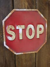 35cm Embossed Stop Metal Road Warning Traffic Safety Sign Rustic Wall Plaque