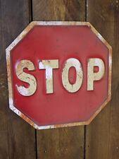 35 cm en relief Stop Metal Road avertissement sécurité routière SIGNE Rustique Plaque Murale