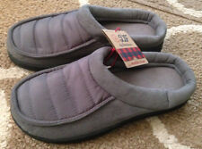 Mens Small 7/8 Gray Quilted Dearfoams Memory Foam Slippers House Shoes New