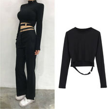 Hollow Out Ring Crop Top T-shirt Fashion Hot Korea Style Sexy Slim Women Gothic