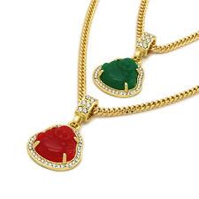 "Men 14k Gold Plated High Fashion 2 pcs green red buddha 3mm 30 & 24"" Cuban Chain"