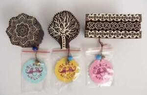 3 Wooden Blockwallah Fabric Stamps, Mandala, Tree & Antique Border Block Wallah