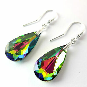 Sterling Silver Dangle Drop Earrings Made With Swarovski Elements