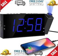 New ListingProjection Digital Alarm Clock Radio for Bedrooms Ceiling w/Usb PhoPhone Charger