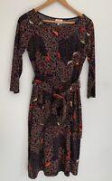 LEONA EDMISTON beautiful Printed 3/4 Sleeve Dress Belted Size 1 8-10
