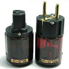2x Gold Plated C-079 + P-079e Schuko Europe EU Power Plug IEC Audio Connector