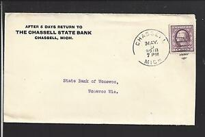 CHASSELL, MICHIGAN 1918 COVER,3CT WAR RATE, ADVT. THE CHASSELL STATE BANK.
