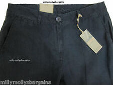 """Womens Marks & Spencer Blue Linen Chino Trousers Size 14 12 Leg 29 12 33"""" 29l"""