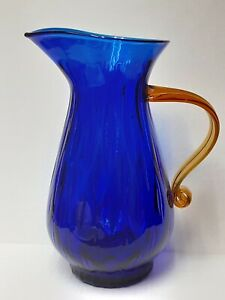 Retro Blenko 2002  Cobalt Blue Pitcher With Amber Handle Signed 2002