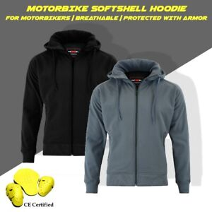 Motorbike Motorcycle Armoured Hoodie Jacket Soft Shell Breathable Waterproof CE