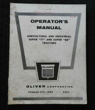 GENUINE 1957 OLIVER SUPER 77 & SUPER 88 TRACTOR OPERATORS MANUAL VERY GOOD SHAPE