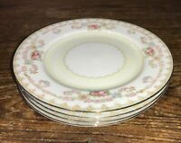 ALADDIN SUSSEX FINE CHINA JAPAN VTG LOT OF 4 FLORAL BREAD & BUTTER PLATES EUC