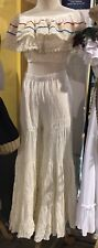 Womens Linen Handmade Set Pants And Top Beige One Size