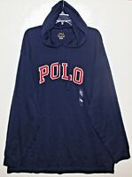 Polo Ralph Lauren Mens Navy Blue Letterman Hoodie L/S Cotton T-Shirt NWT Size XL