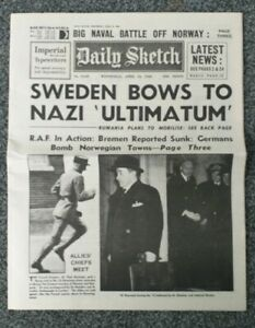 Daily scotch ww2 newspaper - April 10th 1940 - Sweden bows to nazi ultimatum