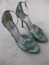 Vintage Look Pale Green Satin Stiletto Sandals by Next, Size UK 8