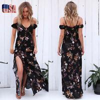 US Women Summer Vintage Floral Boho Long Maxi Evening Party Beach Dress Sundress
