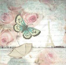 2 Serviettes papier Tour Eiffel Papillon Paper Napkins Romance in Paris