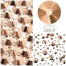 Swarovski x 100 MIXED SIZE Rose Gold Crystals Rhinestones GLUE ON Nail Costume