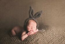 Handmade Grey Fluffy Mohair bunny Bonnet. Photo photography prop. Newborn.