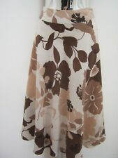 Phase Eight 100% Linen Brown & Cream Floral Skirt Size 10 ( 32 Length )