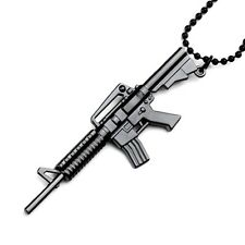 "NEW PUNK JEWELRY METAL COLORED GUN PENDANT ON 26"" BALL CHAIN NECKLACE #GYW47G"
