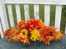 Fall leaves Thanksgiving Autumn Harvest Cemetery Flower Grave Tombstone Saddle