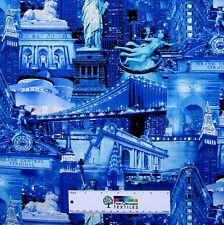 New York City Fabric - Statue of Liberty Building Blue - Timeless Treasures YARD