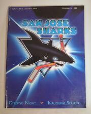 San Jose Sharks 91-92 Inaugural Opening Night Program