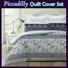 New PICCADILLY Soft Lightly Quilted Heat Pressed QUEEN Quilt/Doona Cover Set